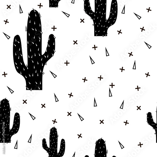 Seamless abstract modern black cactus pattern on white