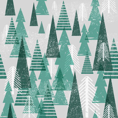 Fototapeta Las Seamless vector winter forest pattern. Christmas background. Green trees in clouds. Grunge texture graphic simple elements.
