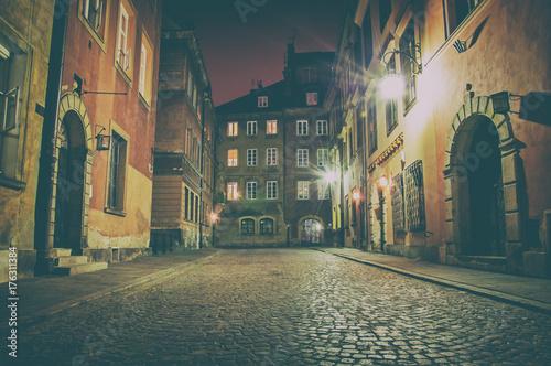 Obraz na dibondzie (fotoboard) Stare Miasto nocą. Warszawa, Polska