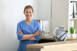 Young female receptionist in hospital