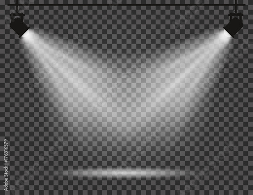 Foto op Canvas Licht, schaduw Spotlights with light beams on transparent background. Realistic spotlights for theatre, photo studio, concerts