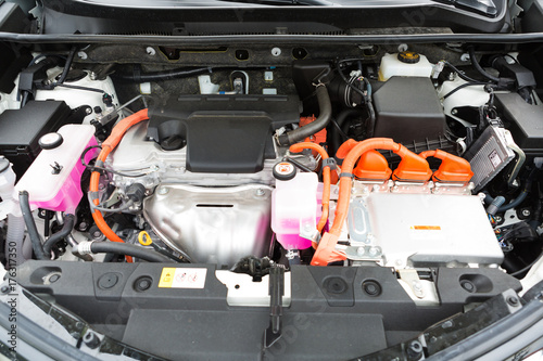 Foto Interior of a hybrid car powered both by electric battery and gas engine