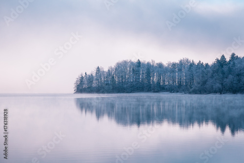 Foto op Plexiglas Blauwe hemel Panoramic morning mist over Lake Bohinj, Slovenia. Concept Winter Landscape.