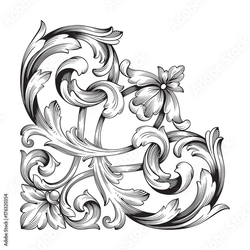 Fotografie, Obraz  Classical baroque ornament vector