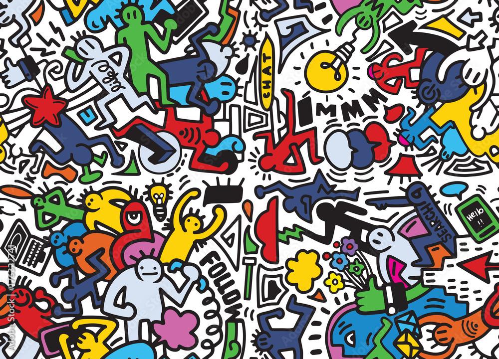 Fototapeta Vector line art Doodle cartoon set of people , objects and symbo