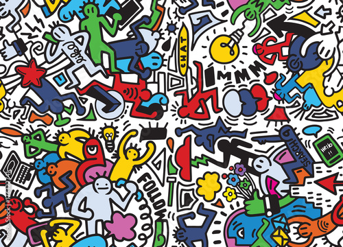 Obraz Vector line art Doodle cartoon set of people , objects and symbo - fototapety do salonu