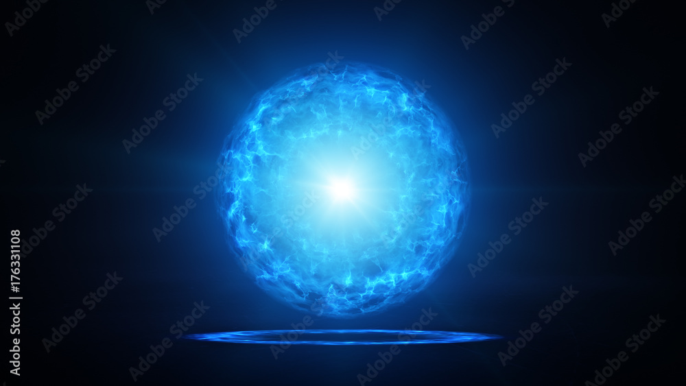 Fototapety, obrazy: Blue plasma ball with energy charges in studio