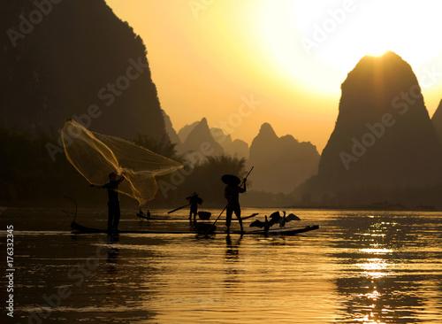 Foto op Aluminium Guilin Fishing on the Li River, Guilin, China..