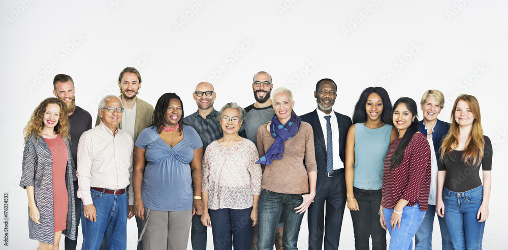 Fototapety, obrazy: A group of diverse people isolated on white