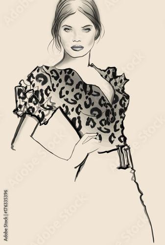 Tuinposter Art Studio Attractive woman model posing