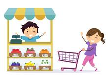 Stickman Kids Play Grocery Sho...