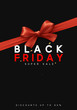 Black Friday sale, banner, poster, logo. Background red ribbon bow.