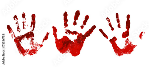 Obraz na plátně Hand in the red blood. Bloody handprint on white background
