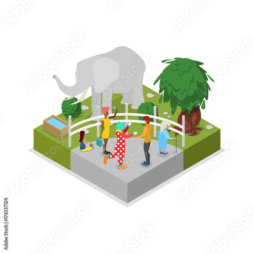 Fotografia, Obraz  Cage with elephant isometric 3D icon