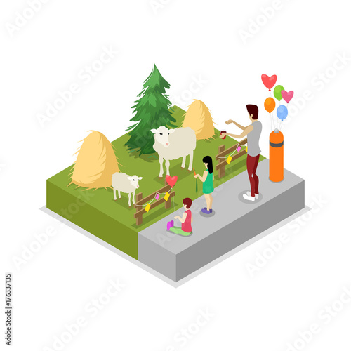 Fotografia, Obraz  Cage with sheeps isometric 3D icon