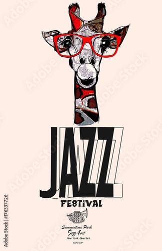 Tuinposter Art Studio Giraffe with sunglasses - jazz poster