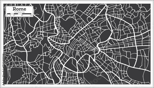 Cuadros en Lienzo Rome Map in Retro Style. Hand Drawn.