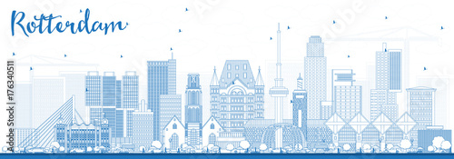 Poster de jardin Rotterdam Outline Rotterdam Netherlands Skyline with Blue Buildings.