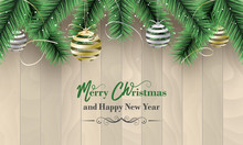 Merry Christmas And Happy New Year Vector Banner As A Wish With Gold And Silver Christmas Baubles, Bows, Confetti And Green Branches.