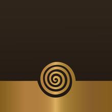 Abstract Gold Spiral Background Design Element.