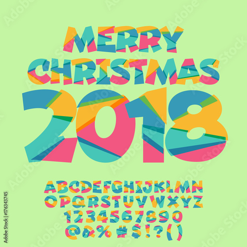 Vector Merry Christmas 2018 Greeting Card for Kids  Funny Alphabet