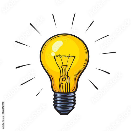 Obraz Cartoon glowing yellow light bulb - fototapety do salonu