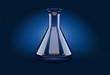 Leinwandbild Motiv Chemistry flask on blue background