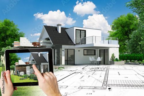 Fotografia, Obraz  Dessin de l'extension d'une maison d'architecte avec plan