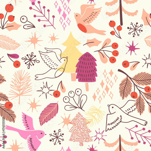 Christmas seamless pattern with tree, birds, barrys. Vector holiday illustration
