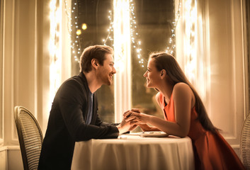 Sweet couple having a romantic dinner
