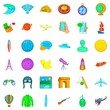 Research icons set, cartoon style