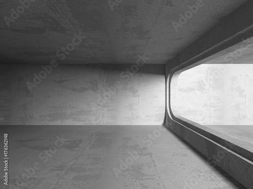 Poster Betonbehang Dark concrete empty room. Modern architecture design