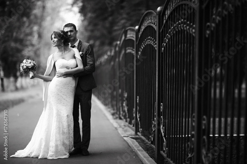 Fototapeta Wedding black and white photo poster