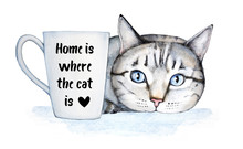 Famous Cat Quote About Home And Pets. Beautiful Hospitable Home Decoration, Poster, Postcard. General Universal Classical Theme. Lettering And Watercolor Illustration, Isolated On White Background