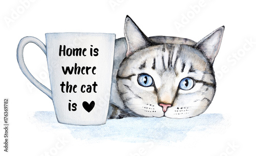 Famous Cat Quote About Home And Pets. Beautiful Hospitable Home Decoration,  Poster, Postcard
