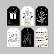 Set of doodle Christmas greeting tag. Vector hand drawn cute icons. Scandinavian style. Xmas tree, house, snowman, bird, holly jolly and lettering. New Year scrapbooking. Holiday festive party.