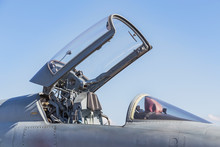 Close Up Part Of Cockpit Of Fighter Jet Military Aircraft  With Ejection Seat
