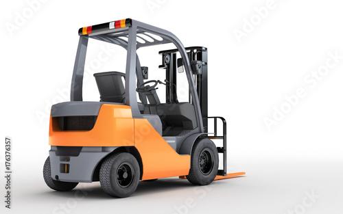 Plakat 3d renderingu forklift ciężarówka odizolowywająca na białym tle. Widok z tyłu. Spójrz w prawo