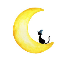Hand Drawn Watercolor Painting Of Black Cat Wearing Witch Hat Sitting On The Moon.