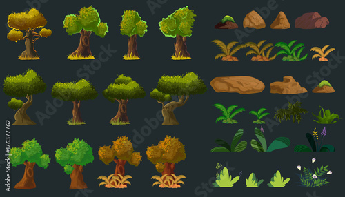 Foto auf Gartenposter Grau Verkehrs Cartoon Nature Elements Set for you design. Vector illustration. You can edit it with illustrator software.