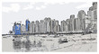 Vector illustration with sketch of jumeirah Dubai, UAE.