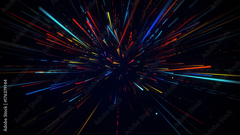 Fototapety, obrazy: Colorful radial motion blurred light rays abstract background