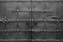 Abstract Black And White Background With Correct Geometric Proportions. Steel Black Gates. Symmetrical And Isolated.