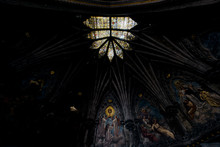Ornate Painted Sanctuary Ceiling & Stained Glass - Abandoned Church - New York