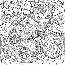 Mandala With Cats. Zentangle. ...