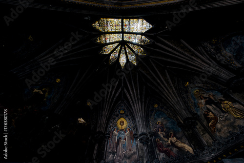 Fotografie, Obraz  Ornate Painted Sanctuary Ceiling & Stained Glass - Abandoned Church - New York
