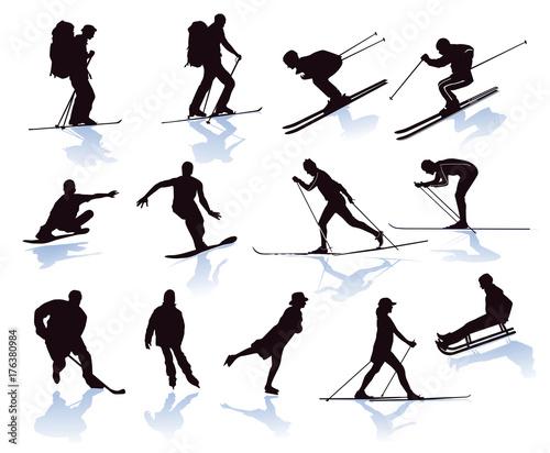 Wintersport, skifahrer, snowboarder, skilanglauf Fototapeta