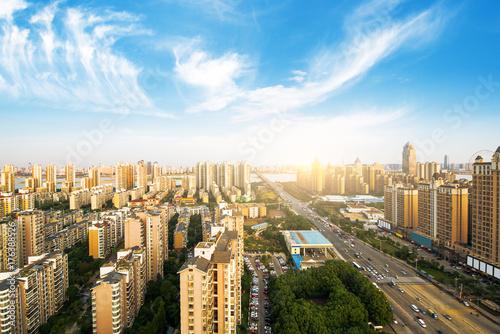 Plakat Shanghai panoramę miasta i pejzaż o zachodzie słońca