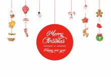 Colorful Christmas Elements White Background