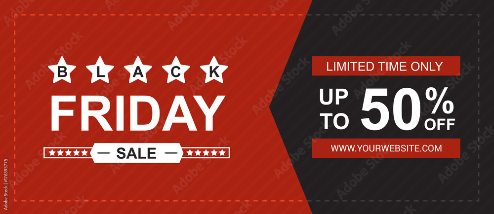 Fototapeta Black friday sale banner vector.